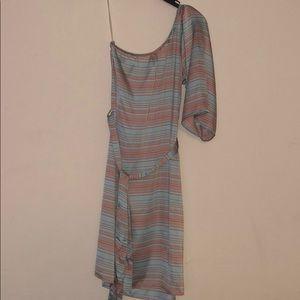 Francesca's tie-front one shoulder satin dress